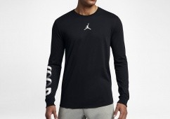 NIKE AIR JORDAN AIR UP LONG-SLEEVE DRI-FIT TEE BLACK