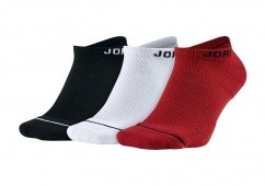 NIKE AIR JORDAN JUMPMAN NO-SHOW SOCKS BLACK WHITE GYM RED