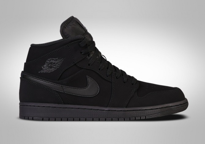 NIKE AIR JORDAN 1 RETRO MID NUBUCK TRIPLE BLACK