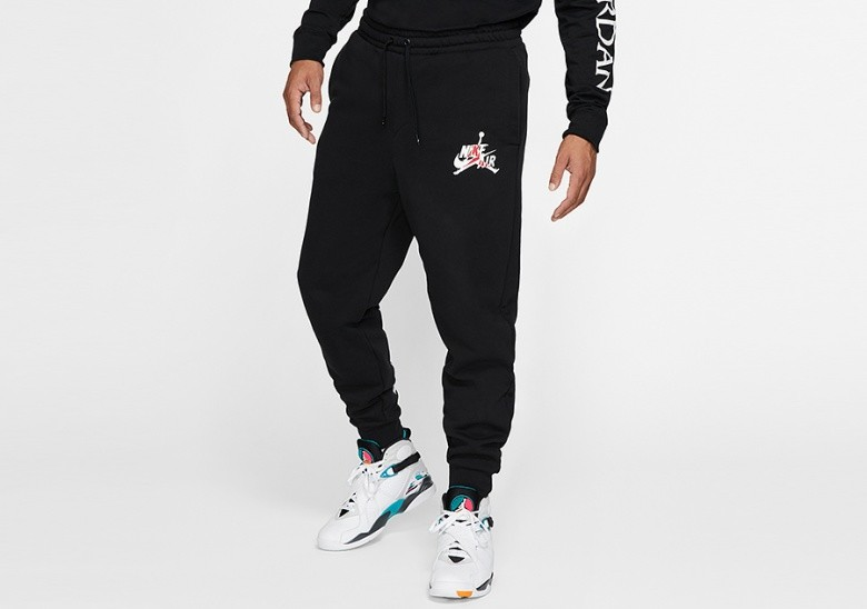 NIKE AIR JORDAN JUMPMAN CLASSICS FLEECE PANTS BLACK