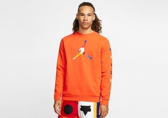 NIKE AIR JORDAN DNA FLEECE CREW BRILLIANT ORANGE