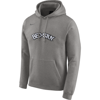 NIKE NBA BROOKLYN NETS LOGO FLEECE HOODIE DARK GREY HEATHER