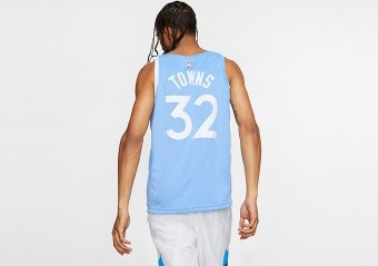 NIKE NBA MINNESOTA TIMBERWOLVES KARL-ANTHONY TOWNS CITY EDITION SWINGMAN JERSEY VALOR BLUE