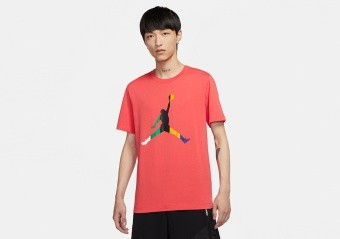 NIKE AIR JORDAN SPORT DNA JUMPMAN CREW TEE TRACK RED