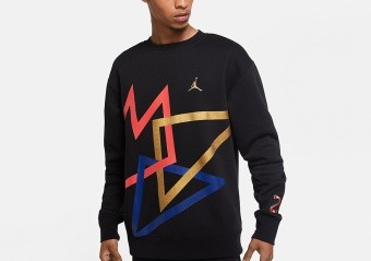 NIKE AIR JORDAN SPORT DNA HBR FLEECE CREW BLACK