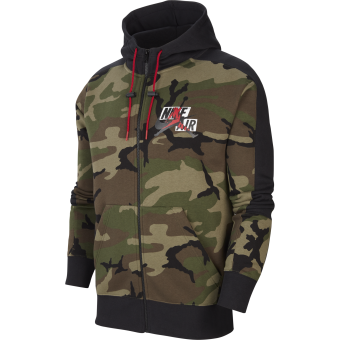 NIKE AIR JORDAN JUMPMAN CLASSICS CAMO FLEECE FULL-ZIP HOODIE MEDIUM OLIVE