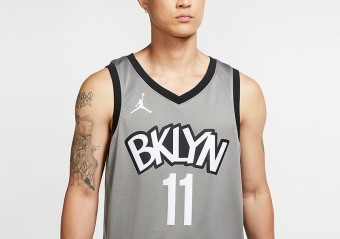 NIKE NBA BROOKLYN NETS KYRIE IRVING STATEMENT EDITION SWINGMAN JERSEY DARK STEEL GREY