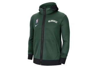 NIKE NBA MILWAUKEE BUCKS SHOWTIME THERMA FLEX HOODIE FIR