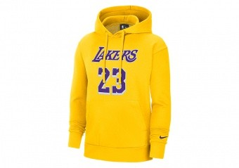 NIKE NBA LOS ANGELES LAKERS LEBRON JAMES ESSENTIAL PULLOVER HOODIE AMARILLO