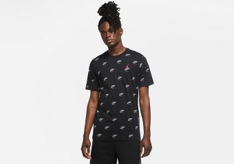 NIKE AIR JORDAN JUMPMAN PRINTED CREW TEE BLACK