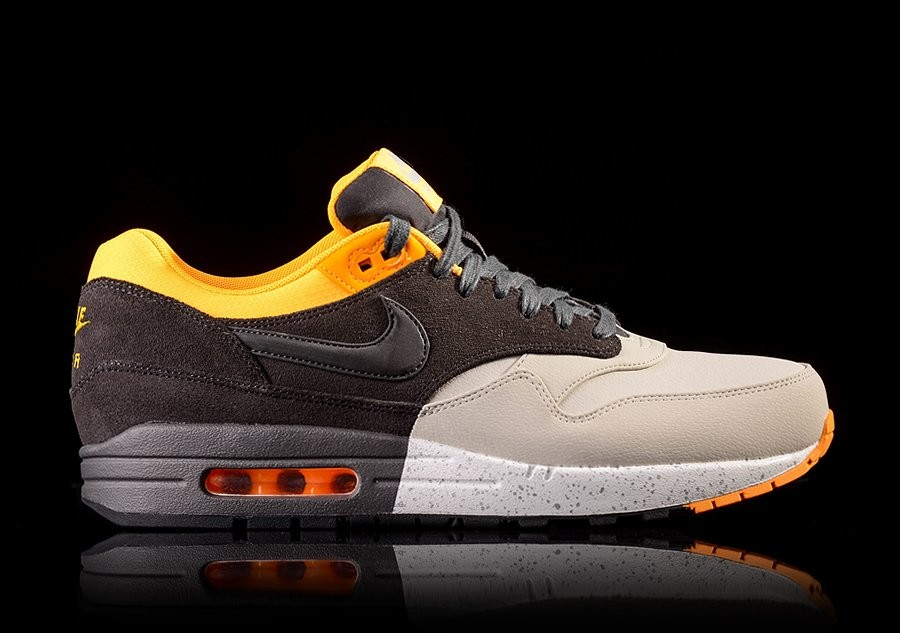 NIKE AIR MAX 1 PRM PALE GREY CHARCOAL LASER ORANGE